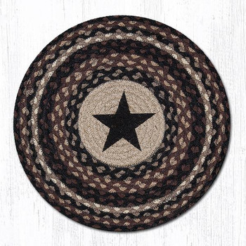 Black Rustic Star Braided Jute Round Placemats, Set of 2