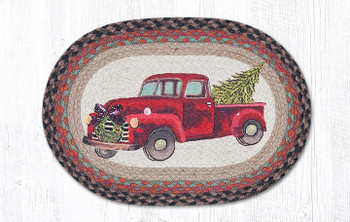 Christmas Truck with Wreath Braided Jute Oval Placemats, Set of 2