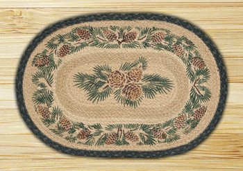 Pinecone Braided Jute Oval Placemat, Set of 2