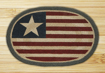 Original American Flag Braided Jute Oval Placemat, Set of 2