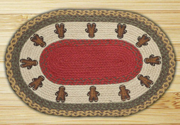 Gingerbread Men Braided Jute Oval Placemat, Set of 2