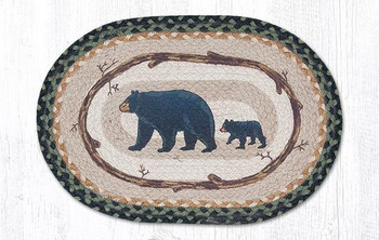 Mama & Baby Bear Braided Jute Oval Placemats by Jan Harless, Set of 2