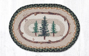 Tall Timber Trees Braided Jute Oval Placemats by Jan Harless, Set of 2