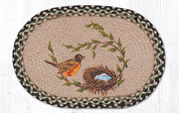 Robins Nest Braided Jute Oval Placemats by Diane Kwasnik, Set of 2