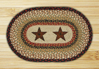 Barn Stars Braided Jute Oval Placemat, Set of 2