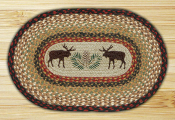 Moose and Pinecone Braided Jute Oval Placemat, Set of 2