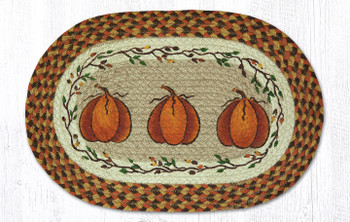 Harvest Pumpkin Braided Jute Oval Placemats by Susan Burd, Set of 2