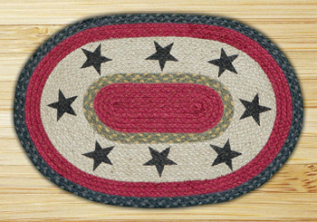 Stars Braided Jute Oval Placemat, Set of 2