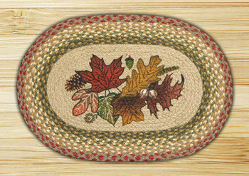 Autumn Leaves Braided Jute Oval Placemat, Set of 2