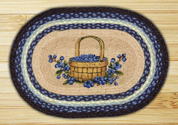Blueberry Basket Braided Jute Oval Placemat, Set of 2