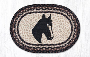 Horse Head Portrait Braided Jute Oval Placemats, Set of 2