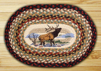 Winter Elk Braided Jute Oval Placemat, Set of 2