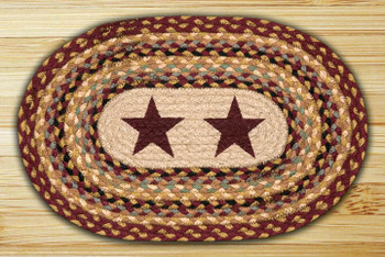 Burgundy Stars Braided Jute Oval Placemat, Set of 2