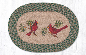 Red Cardinal Birds Braided Jute Oval Placemats, Set of 2