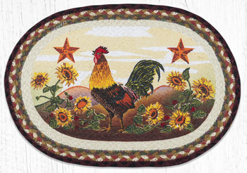 Morning Rooster Bird Braided Jute Oval Placemats, Set of 2