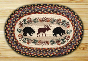 Bears and Moose Braided Jute Oval Placemat, Set of 2