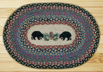 Black Bears Braided Jute Oval Placemat, Set of 2