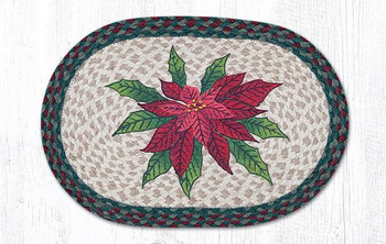 Poinsettia Braided Jute Oval Placemats by Sandy Clough, Set of 2