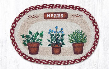 Potted Herbs Braided Jute Oval Placemats by Susan Burd, Set of 2