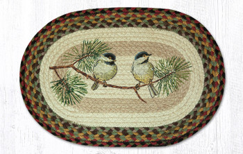 Chickadee Birds Braided Jute Oval Placemats by Sandy Clough, Set of 2