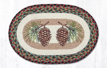 Pinecones Braided Jute Oval Placemats by Sandy Clough, Set of 2