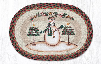 Snowman with Moon and Stars Braided Jute Oval Placemats, Set of 2
