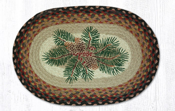 Pinecone Red Berry Braided Jute Oval Placemats, Set of 2