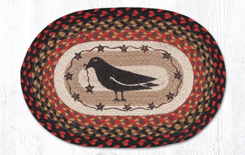 Crow Bird & Stars Braided Jute Oval Placemats by Susan Burd, Set of 2