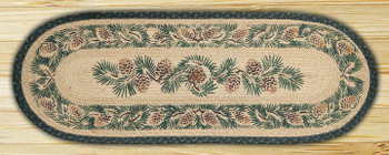 "13"" x 36"" Pinecone Braided Jute Oval Table Runner"