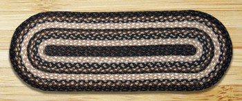 "13"" x 36"" Mocha Frappuccino Braided Jute Oval Table Runner"