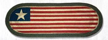 """13"""" x 36"""" Original Flag Braided Jute Oval Table Runner"""