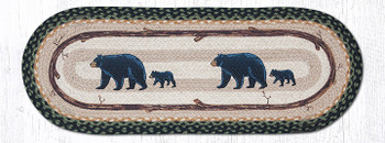 "13"" x 36"" Mama and Baby Bear Braided Jute Oval Table Runner"