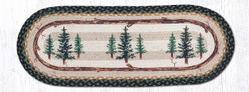"13"" x 36"" Tall Timber Trees Braided Jute Oval Table Runner"