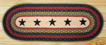 "13"" x 36"" Stars with Red Stripe Braided Jute Oval Table Runner"