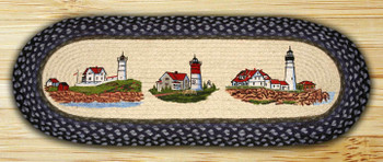 "13"" x 36"" Three Lighthouses Braided Jute Oval Table Runner"