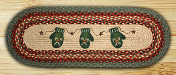 "13"" x 36"" Candy Cane Mittens Braided Jute Oval Table Runner"