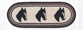 "13"" x 36"" Horse Portraits Braided Jute Oval Table Runner"