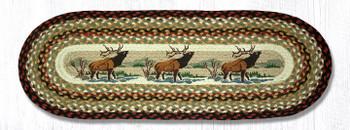 "13"" x 36"" Winter Elk Braided Jute Oval Table Runner"
