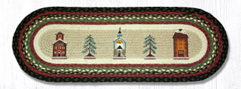 "13"" x 36"" Winter Village Braided Jute Oval Table Runner by Susan Burd"