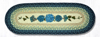 "13"" x 36"" Blue Hydrangea Flowers Braided Jute Oval Table Runner"
