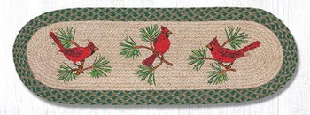 "13"" x 36"" Red Cardinal Birds Braided Jute Oval Table Runner"