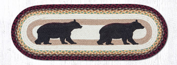 "13"" x 36"" Cabin Bears Braided Jute Oval Table Runner by Sandy Clough"