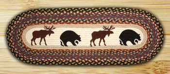 "13"" x 36"" Bears and Moose Braided Jute Oval Table Runner"