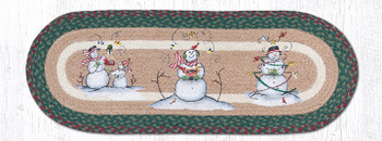 "13"" x 36"" Snowmen Braided Jute Oval Table Runner by Sandy Clough"