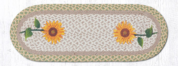 "13"" x 36"" Tall Sunflowers Braided Jute Oval Table Runner"