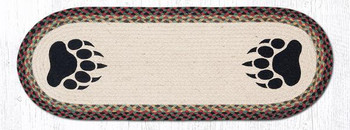 "13"" x 36"" Bear Paw Braided Jute Oval Table Runner"