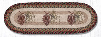 "13"" x 36"" Pinecones Braided Jute Oval Table Runner by Sandy Clough"