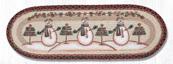 "13"" x 36"" Snowman with Moon and Stars Braided Jute Oval Table Runner"