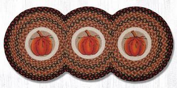 """15"""" x 36"""" Harvest Pumpkin Braided Jute Tri Circle Table Runner"""