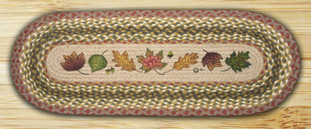 "13"" x 48"" Autumn Leaves Braided Jute Oval Table Runner"